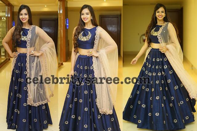 Pujitha Ponnada Blue Lehenga
