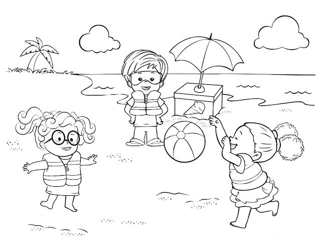 Mewarnai Pantai Mewarnai Gambar