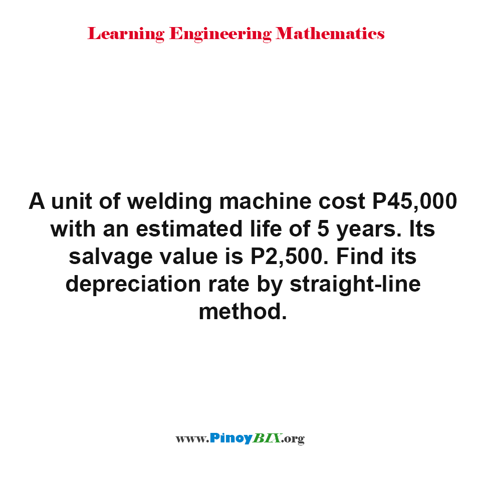 Find its depreciation rate by straight-line method.
