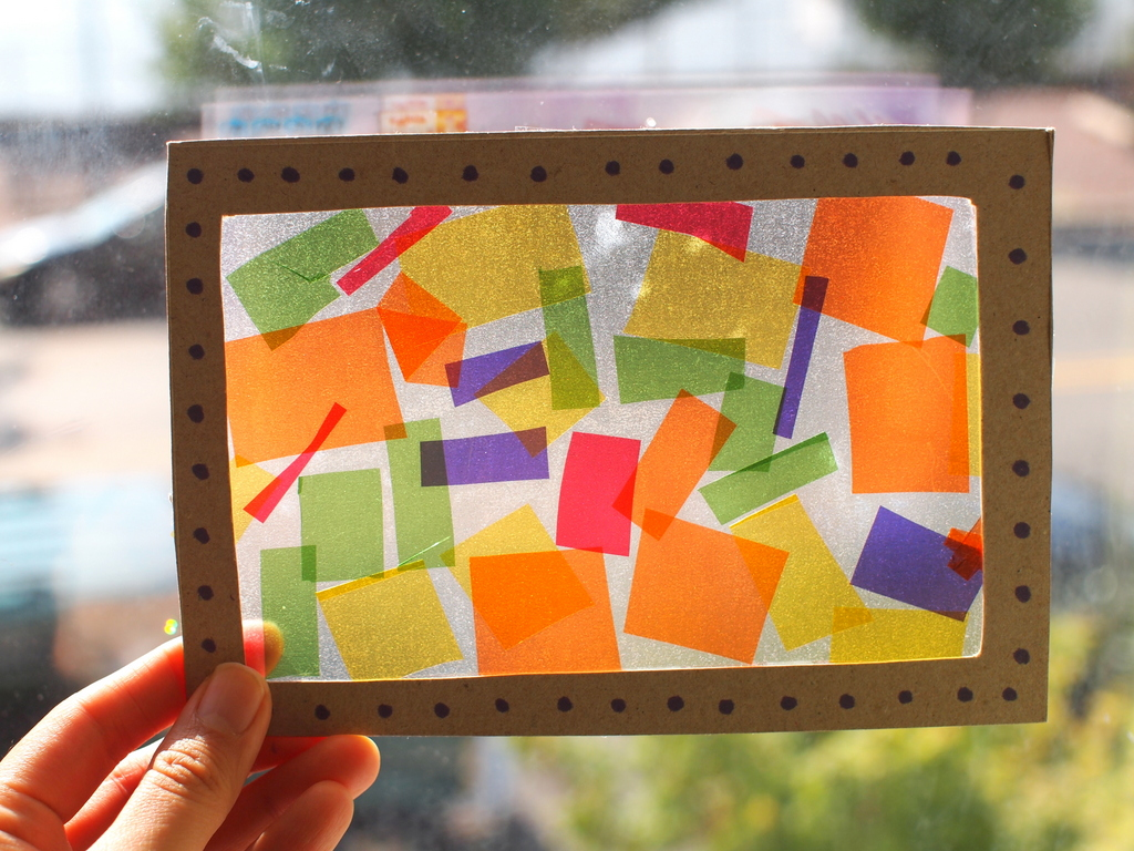 Contact Paper And Cellophane Stained Glass Windows Pink