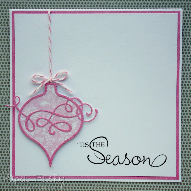 Pink bauble Christmas card