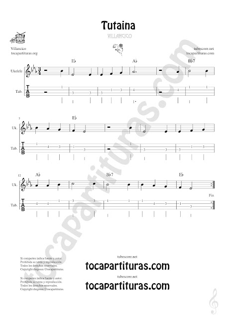 Ukelele Tablatura y Partitura Original de Tutaina Villancico Punteo Tablature Sheet Music for Ukelele Tabs Music Scores