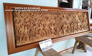 ukiran relief ramayana kayu jati jepara