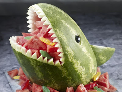 shark carving watermelon fruit arts