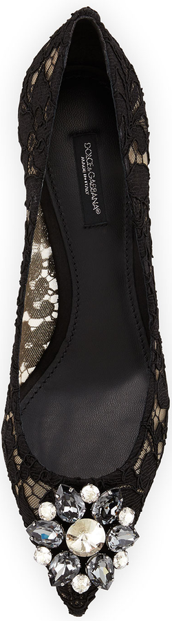 Dolce & Gabbana Jewel-Embellished Lace Pump, Black