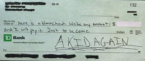 Artificial Boy      Blog Archive      Blank Check All my money to be a kid again