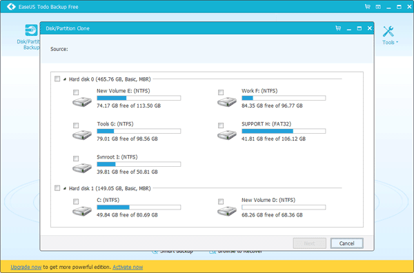 EaseUS Todo Backup Free 10.6 - Πάρε Backup και αντέγραψε τον HDD δίσκο σε SSD