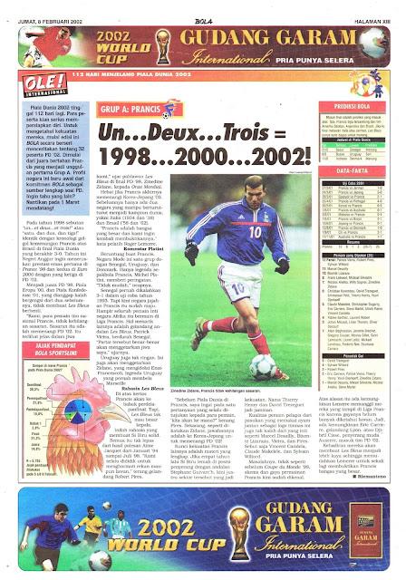 MENJELANG PIALA DUNIA 2002: GRUP A PRANCIS