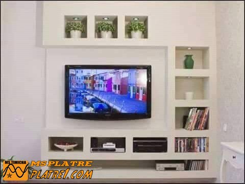 D cor en pl tre pour tv plasma decoration platre plafond for Decoration murale en platre