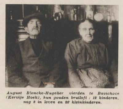 Dhr. August Blancke en Mevr. Hugelier uit Bavikhove kregen 12 kinderen.