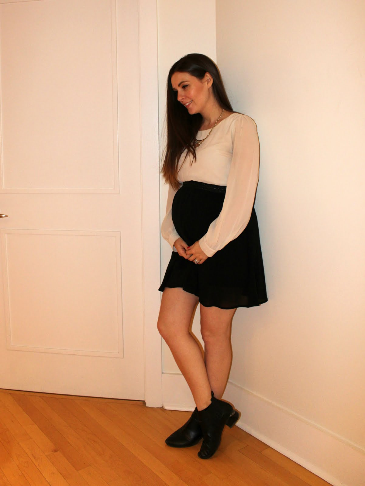 Black and White H&M Chiffon Dress, Maternity, Business Casual