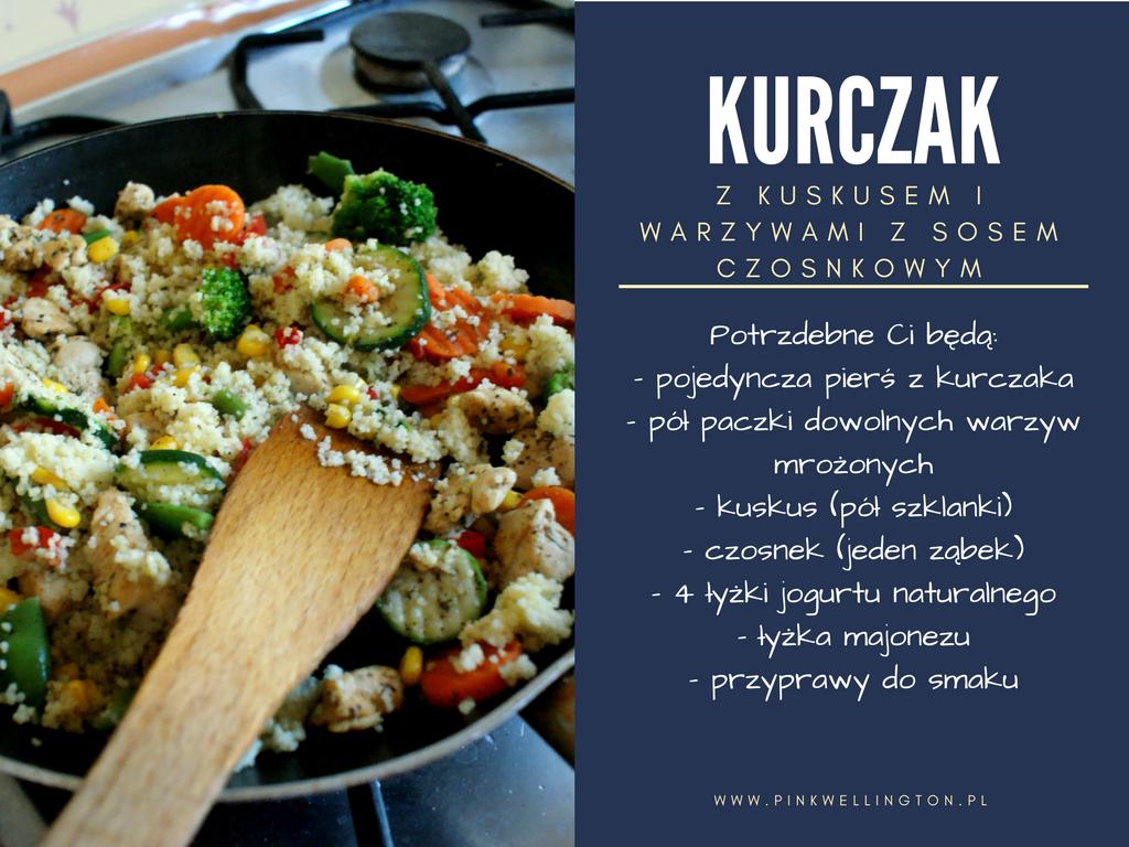 15 minut w kuchni #1- Kurczak z kuskusem i warzywami z sosem czosnkowym