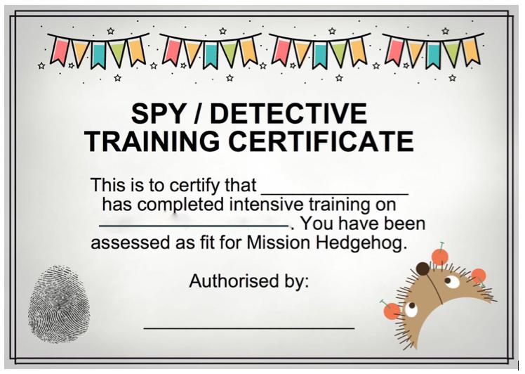 сертификат детектива бланк