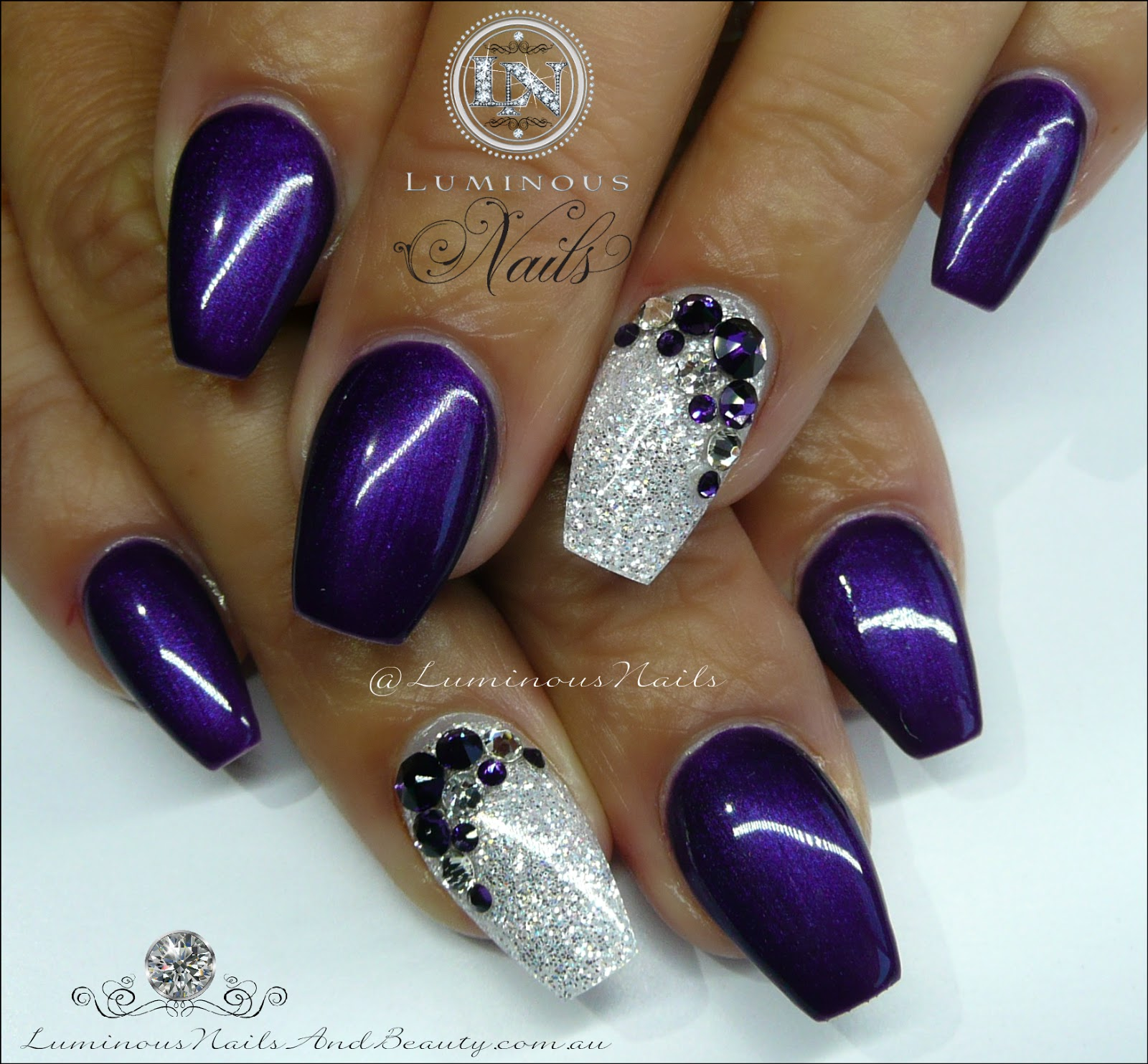 Nail designs purple white about purple nails on shellac nail view images purple and white nails acrylic gel nail art designs prinsesfo Images