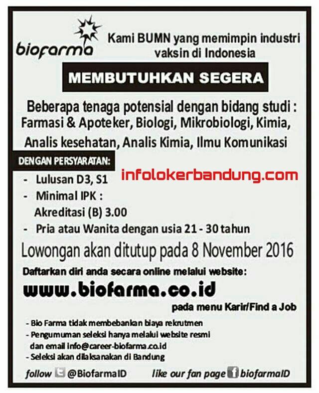 Lowongan Kerja PT. Biofarma November 2016