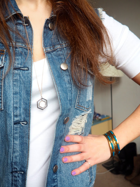 Flynn Rider Tangled Disneybound outfit - jewellery details of gold geometric pendant necklace, and gold and blue metal bracelets