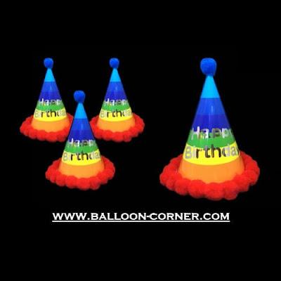 Topi Ulang Tahun Kerucut Rainbow Pom Pom