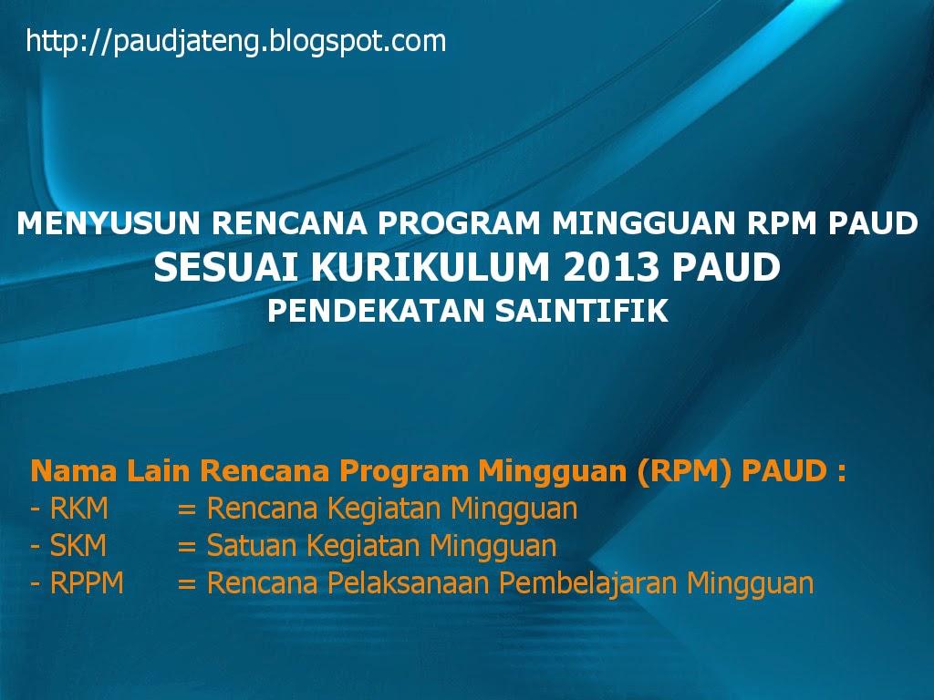 Menyusun Program Mingguan RKM RPPM PAUD Kurikulum 2013