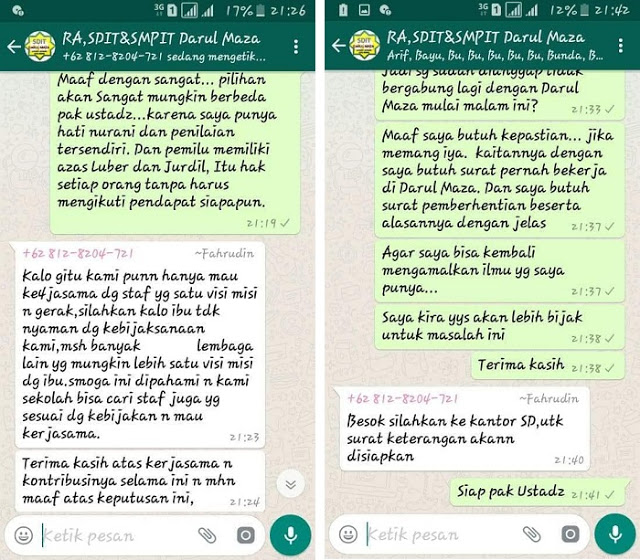 Heboh, Gara-gara Dukung Ridwan Kami, Guru di SDIT Ini Dipecat Dengan Tidak Hormat Via Whatsapp