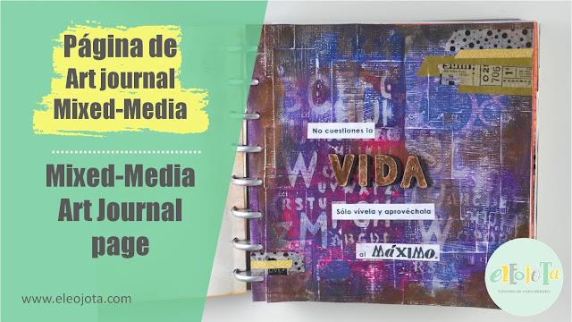 página de art journal mixed-media