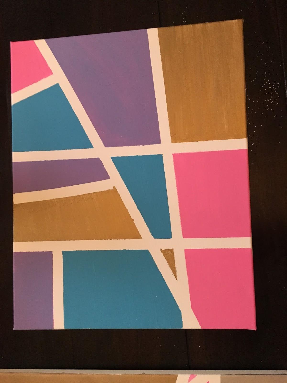 Crafty Texas Girls Diy Abstract Art Using Tape Paint
