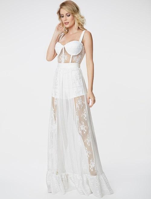 vestido longo branco com transparência e hot pants
