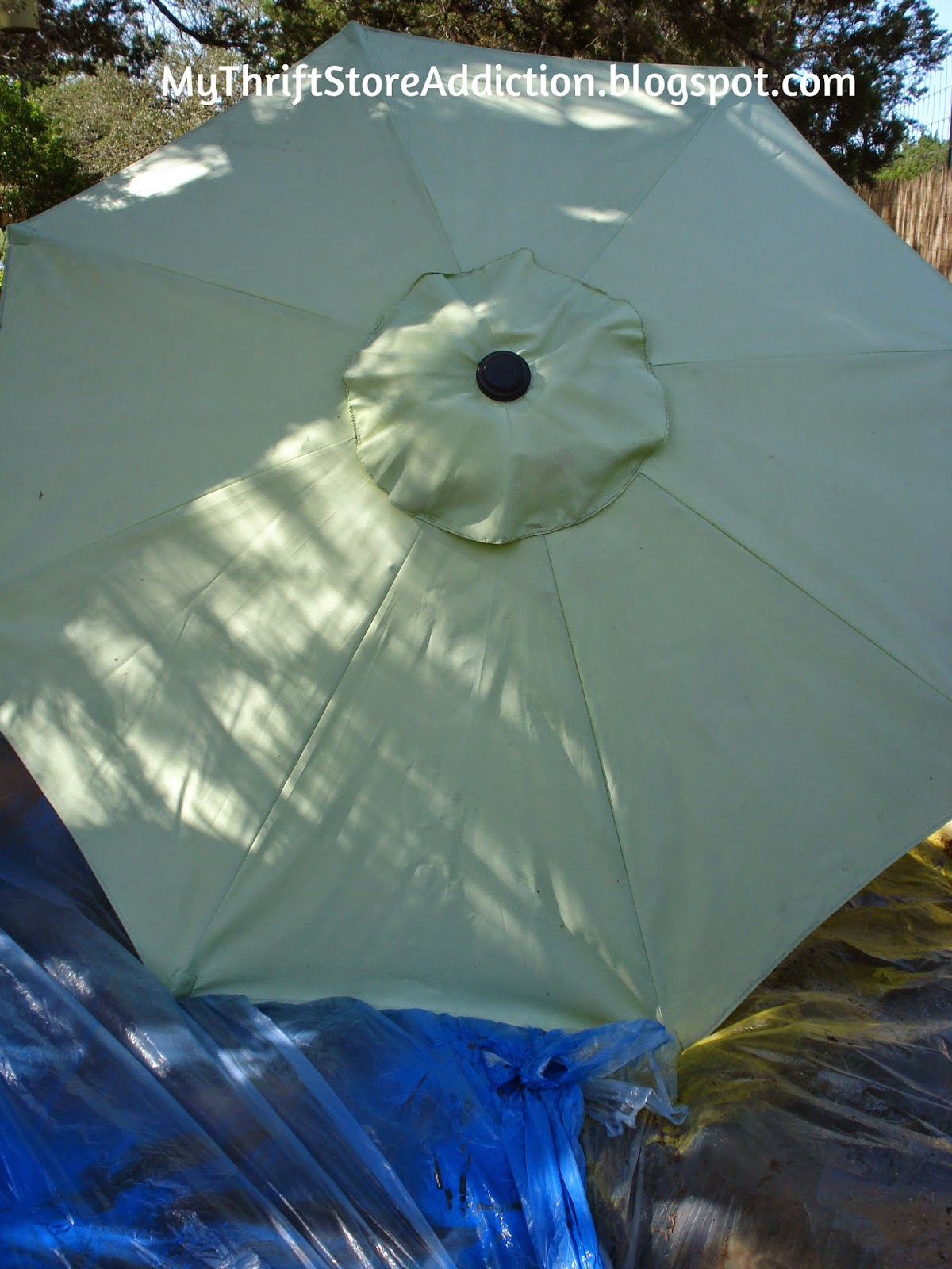 Upcycled spray painted patio umbrella