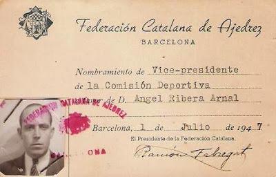 Carnet de Vicepresidente de la Comisión Deportiva de la Federación Catalana de Ajedrez