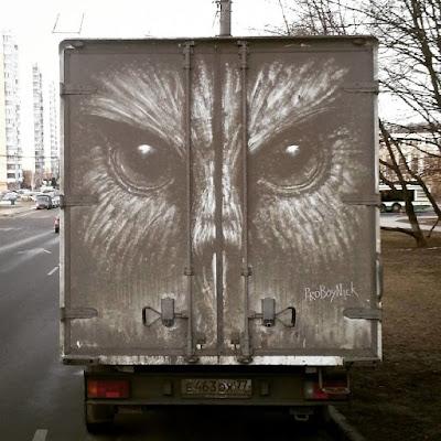 Arte en coches sucios