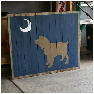 Boykin Spaniel under Palmetto Moon on reclaimed wood wall art | The Lowcountry Lady