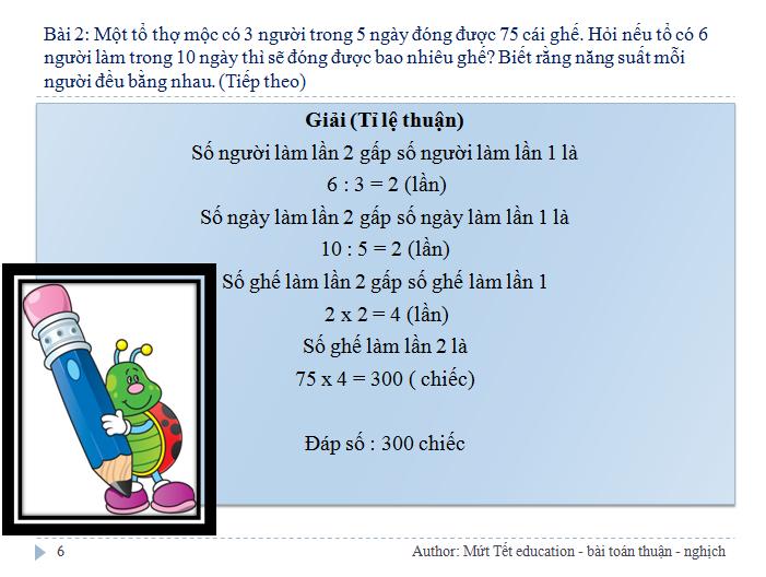 Các dạng bài toán tỉ lệ thuận - nghịch - Toán 5 (Tiết 1) (6)