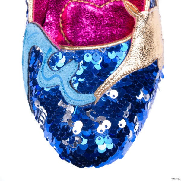 blue and silver sequin shoe toe close up with smokey swirl applique
