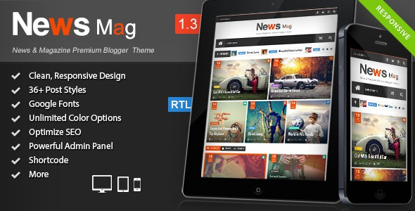 News Mag blogger theme is an another clean and beautiful blogger template. It is responsive blogger design and great user-friendly blogger template and SEO ready theme.