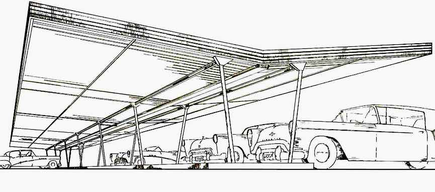 an illustration of a 1950s carport for public parking