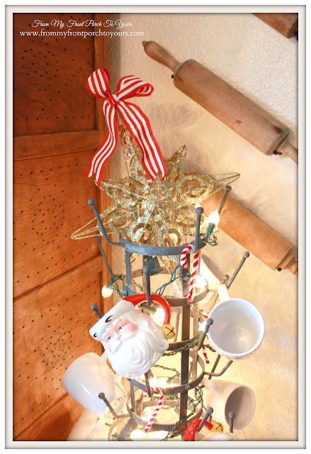 Farmhouse Christmas Kitchen-Bottle Drying Rack-Christmas  Lights-From My Front Porch To Yours