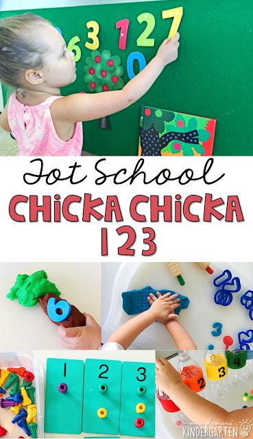 Tons of number themed activities and ideas to go with Chicka Chicka 123. Weekly plan includes books, fine motor, gross motor, sensory bins, snacks and more! Perfect for fall in tot school, preschool, or kindergarten.