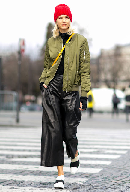 leather pants, culottes, bomber jacket, fall 2016, street style, spring 2016, trends, fashion week, NYFW, PFW, LFW, new york fashion week, paris fashion week, london fashion week