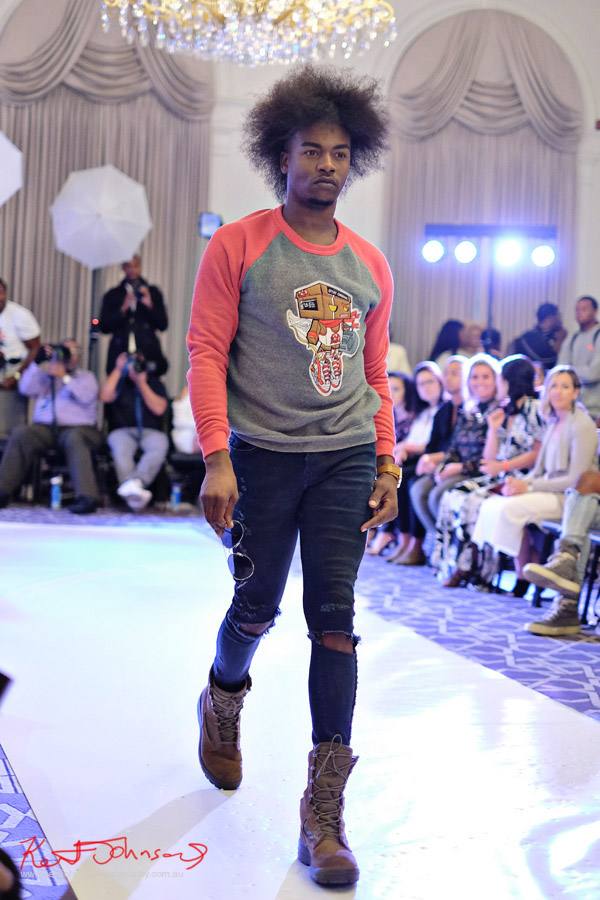 Mens graphic sweatshirt, streetwear label Solemates Apparel at Bracé NYFW. Photographed by Kent Johnson.