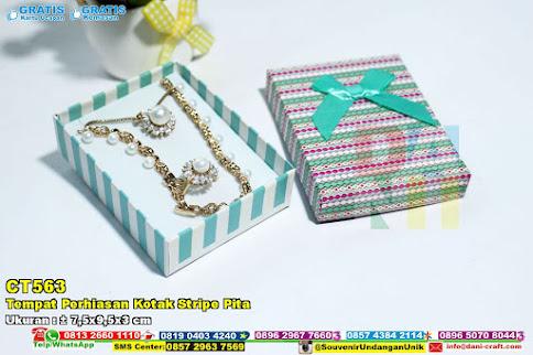 Tempat Perhiasan Kotak Stripe Pita