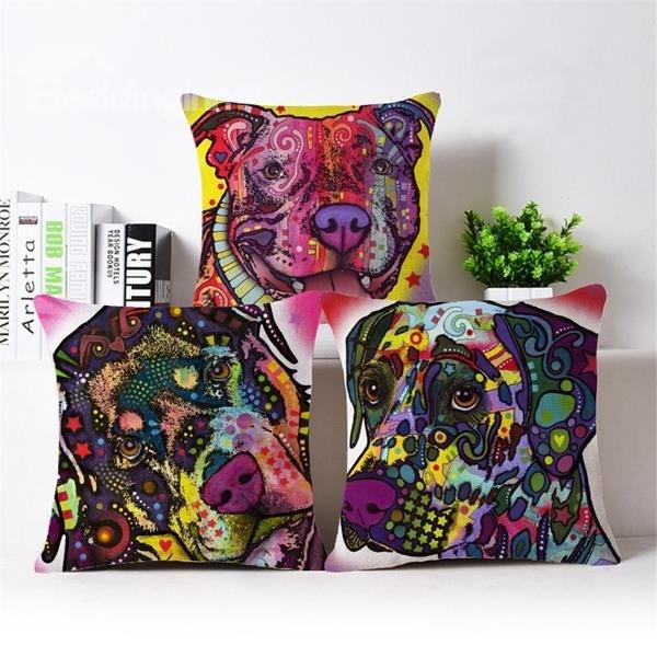 Beddinginn-Colorful Pope Style Dog Print Cotton Throw Pillow Case