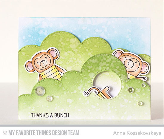 Thanks a Bunch Card by Anna Kossakovskaya featuring the Cheeky Monkey stamp set and Die-namics, and the Stitched Cloud Edges and Inside & Out Stitched Circle STAX Die-namics #mftstamps