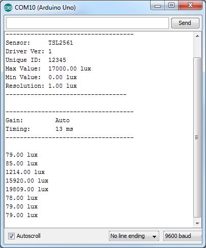 TSL2561 - Serial Monitor