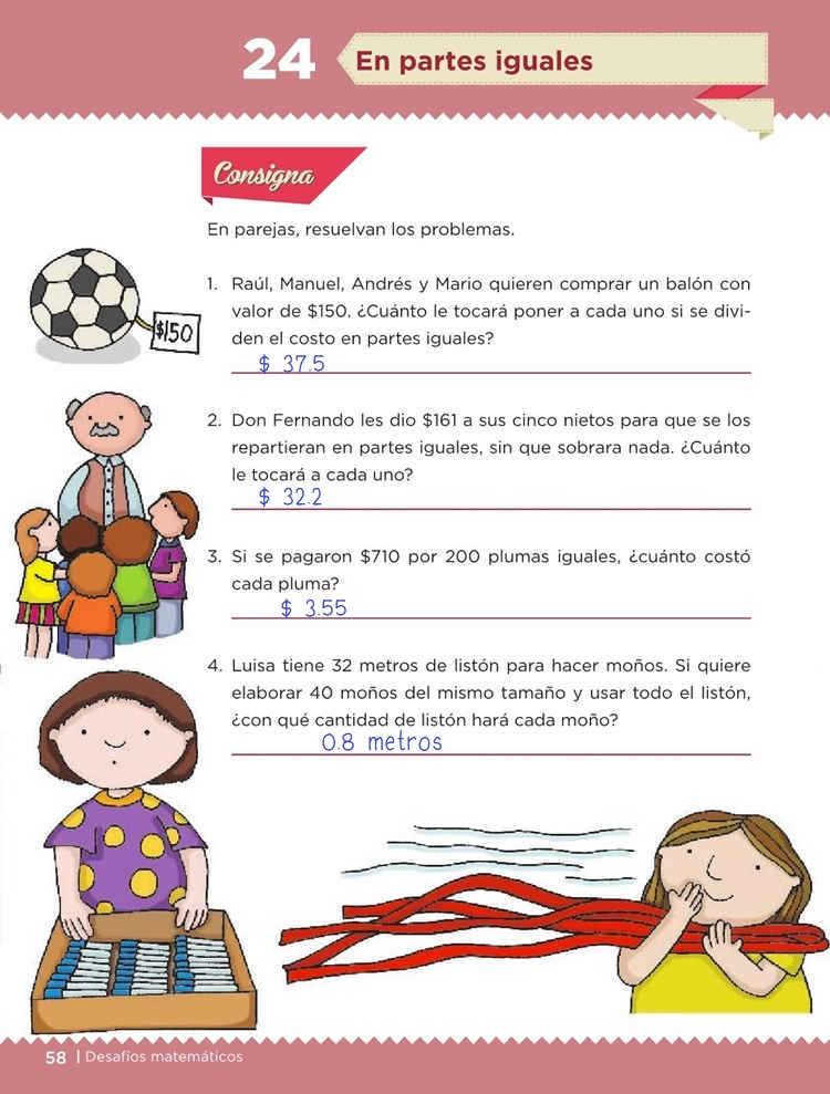 En partes iguales - Desafío 24 - Desafíos Matemáticos Quinto grado Contestado