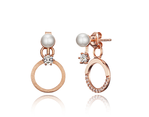 Pearl Zirconia Hoop Earrings