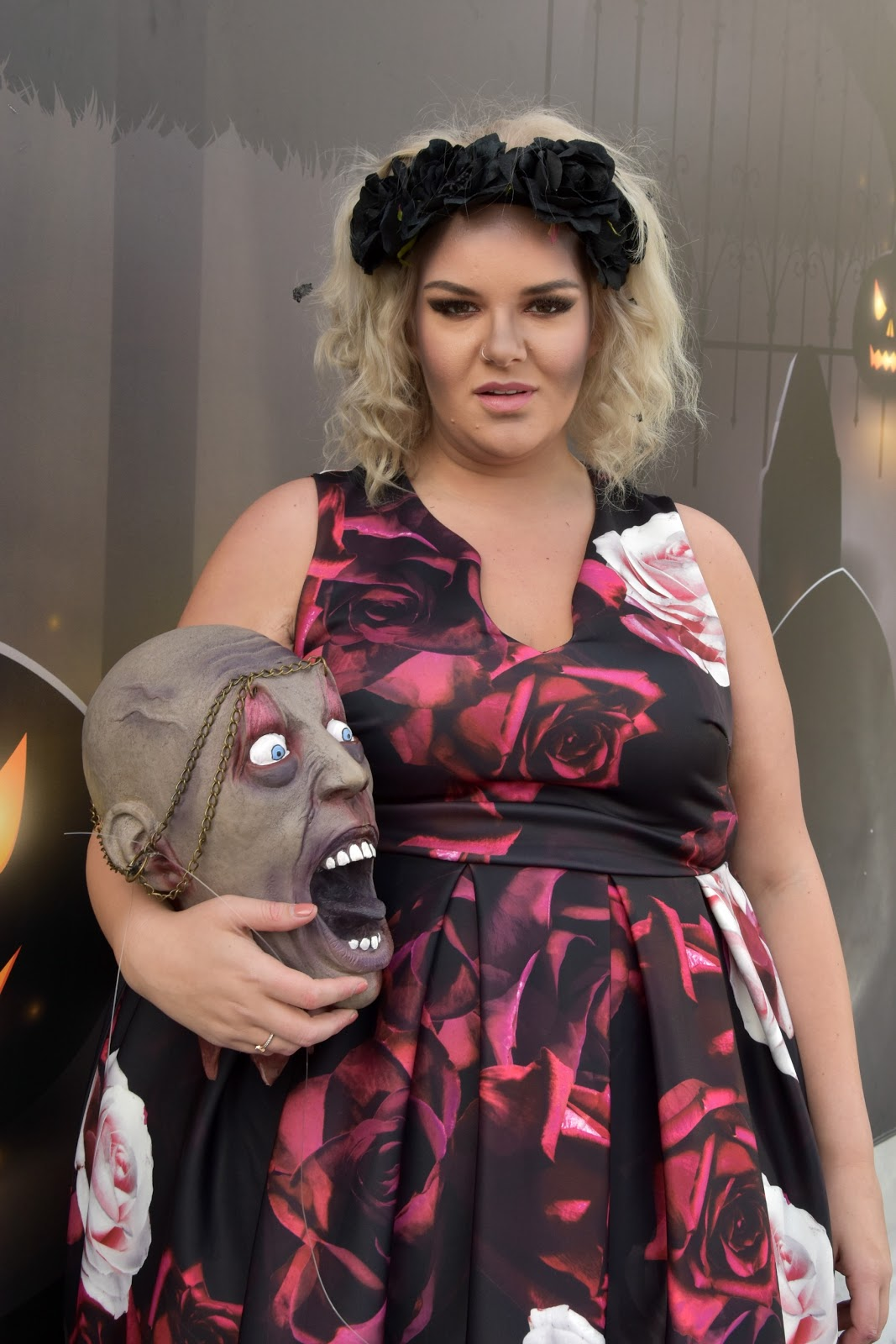 Floral Skull Plus Size Halloween Outfit with Yours Clothing at The Alnwick Garden