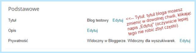 """Ustawienie """"Podstawowe"""" na Bloggerze (Tytuł)."""