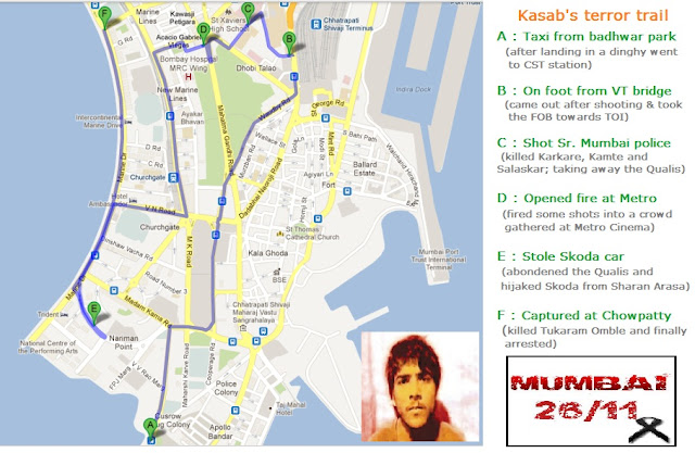 Kasab's terror map Wednesday 26/11/2008