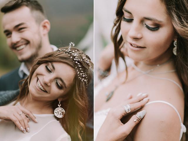 Biżuteria ślubna i makijaż w stylu etno.