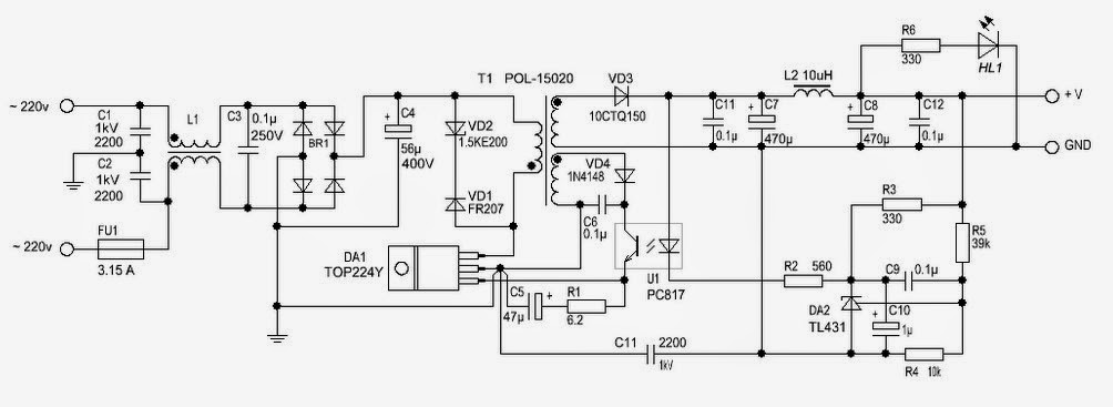 12 Volt / 2 A Switching Power Supply Circuit Diagram