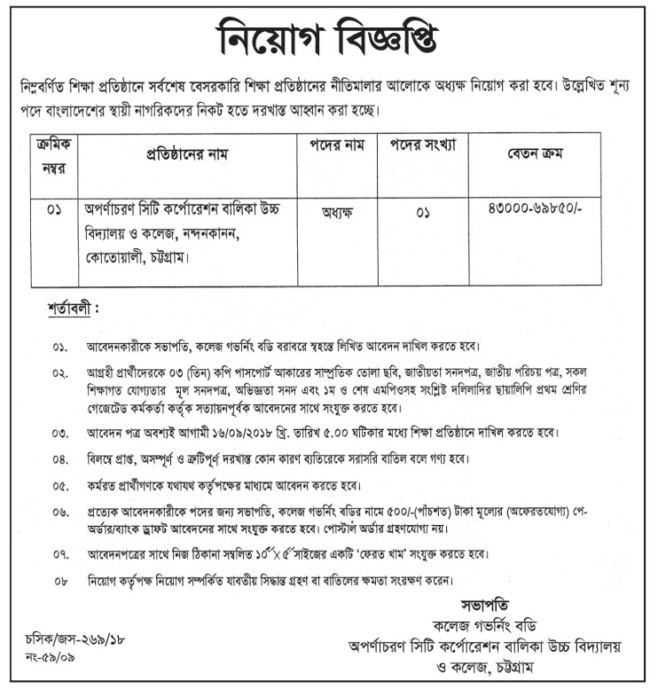 Apornacharan City Corporation Girls High School & College Principal Job Circular 2018